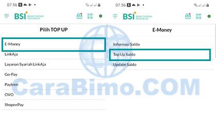 E-Money Pilih Top Up Saldo