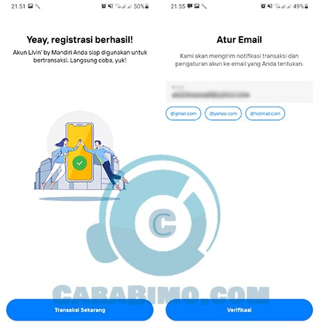 verifikasi email New Livin mandiri